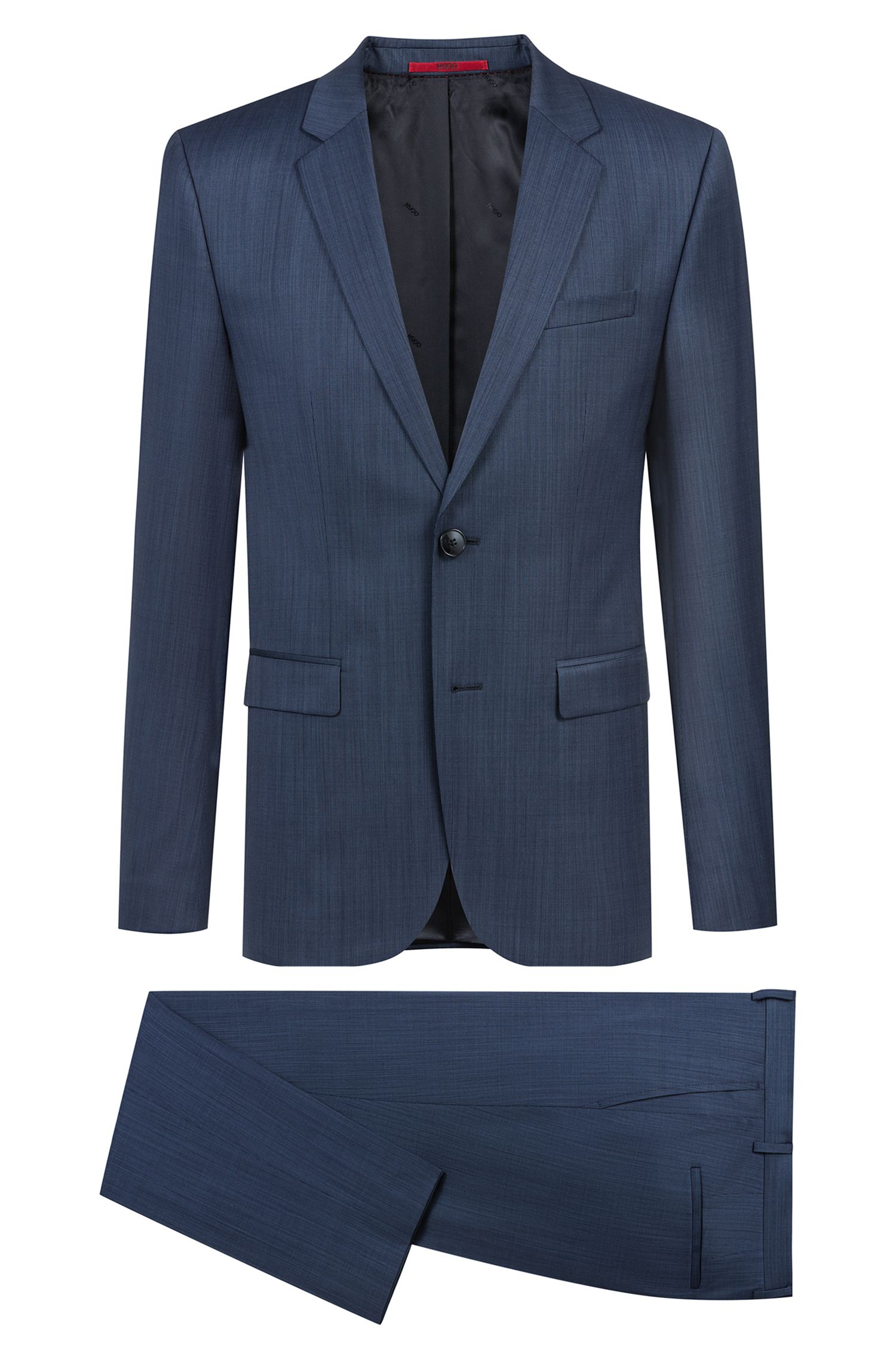 Abito extra slim fit in misto lana vergine bicolore, Blu scuro