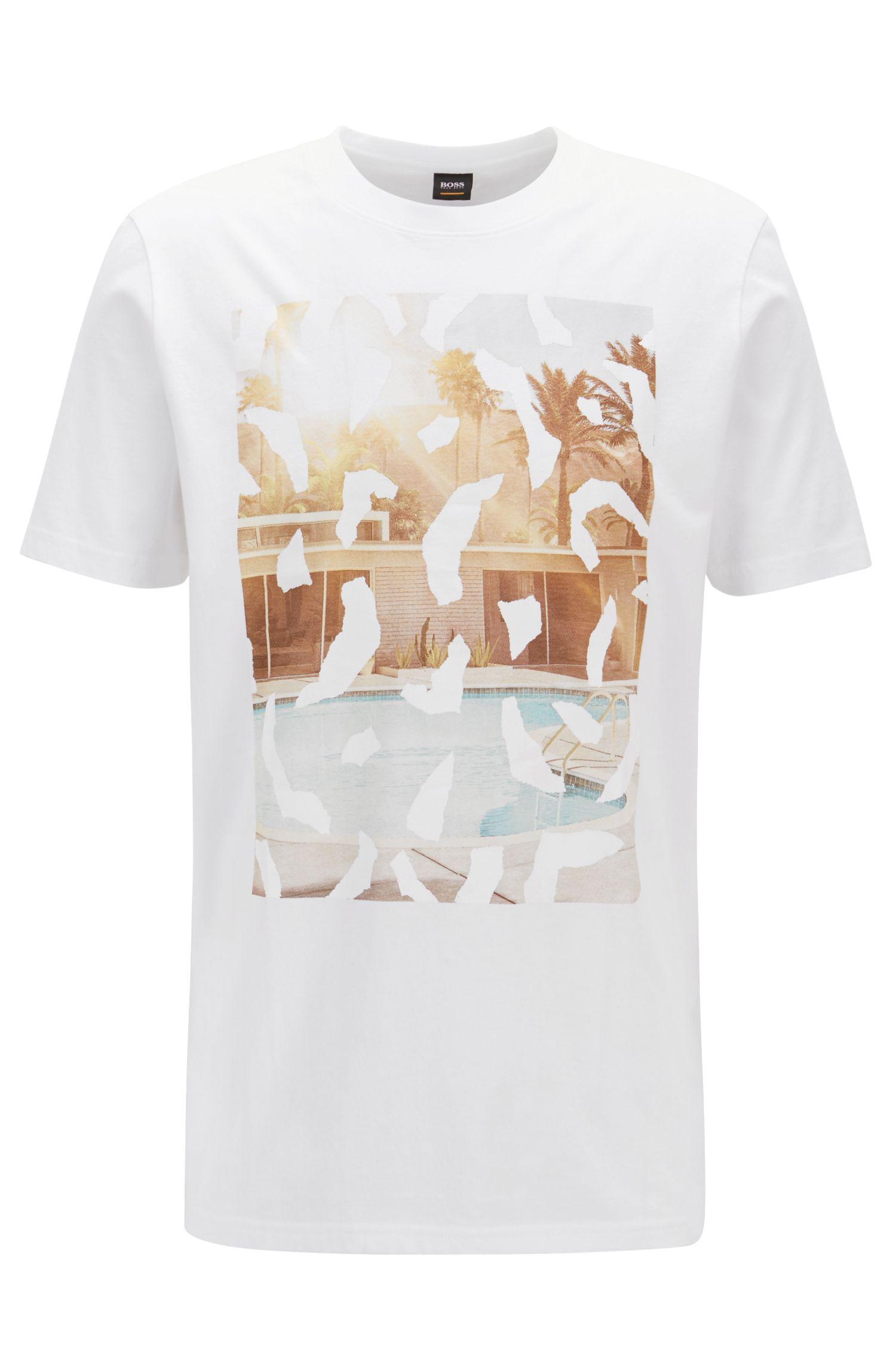 T-Shirt aus Baumwolle mit Foto-Print und Rundhalsausschnitt, Weiß