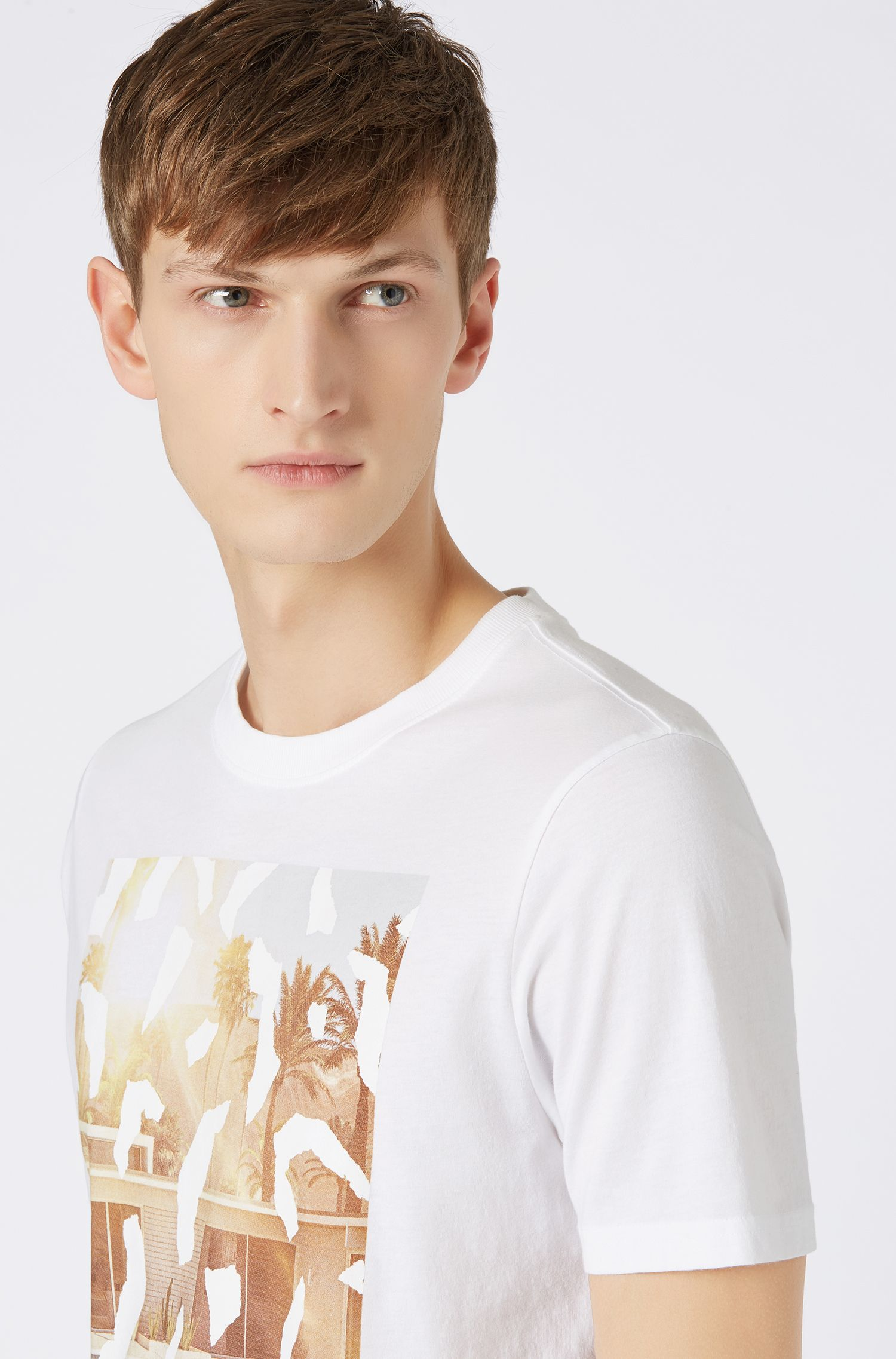 Crew-neck T-shirt with suede-touch photo print, White