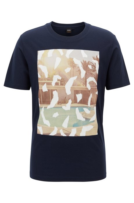 Crew-neck T-shirt with suede-touch photo print, Dark Blue