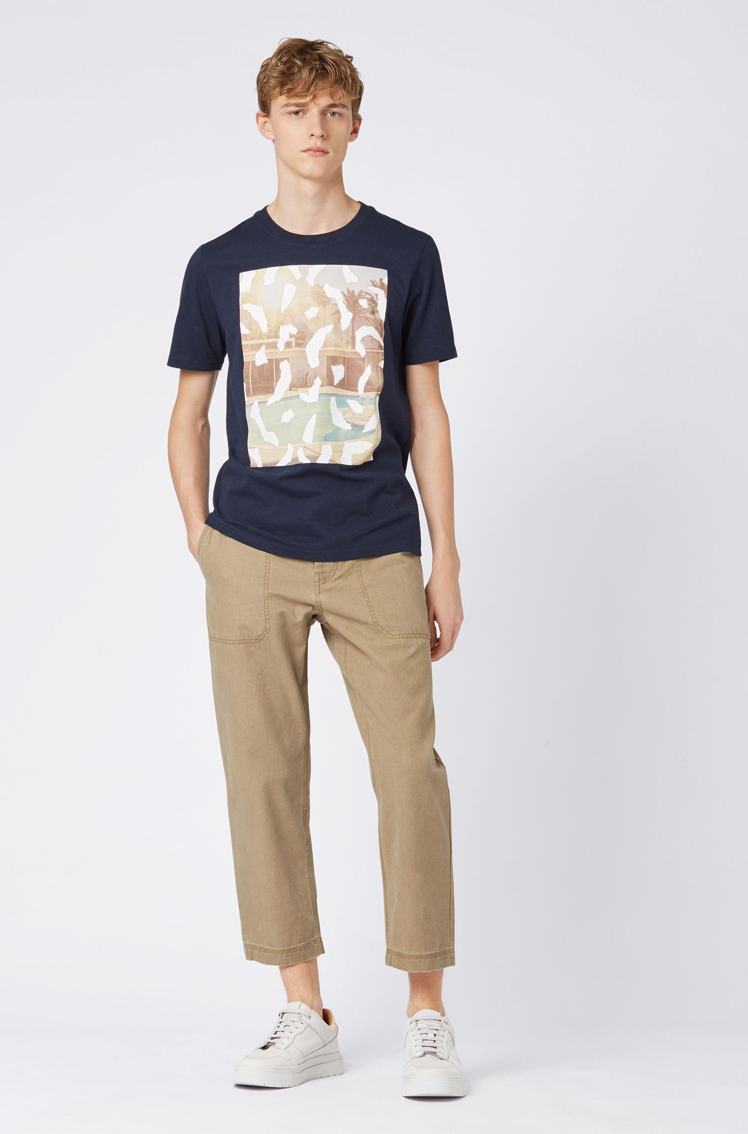 T-shirt met ronde hals en een fotoprint met een suède-feel, Donkerblauw