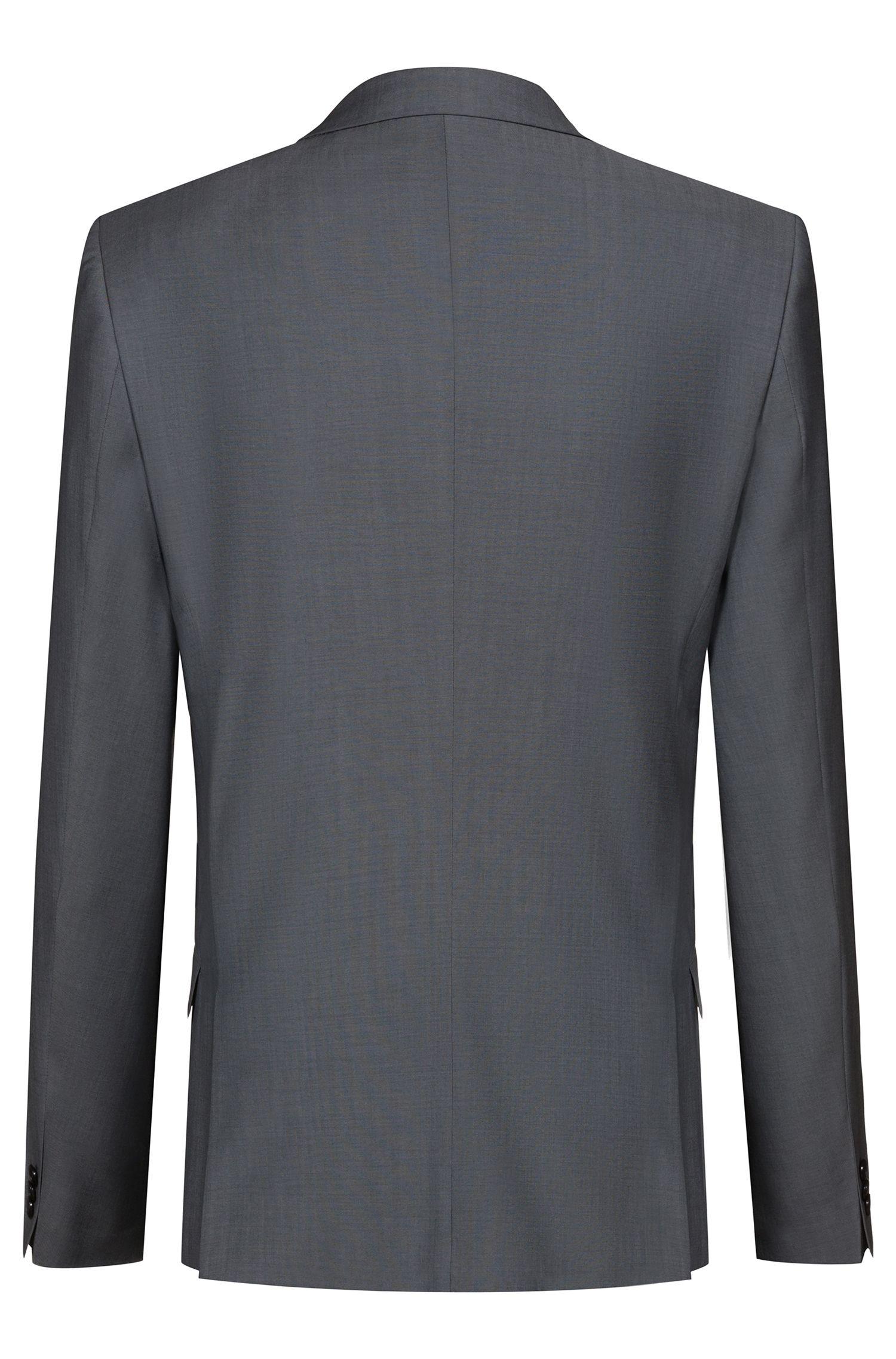 Abito con gilet extra slim fit in lana testurizzata, Grigio