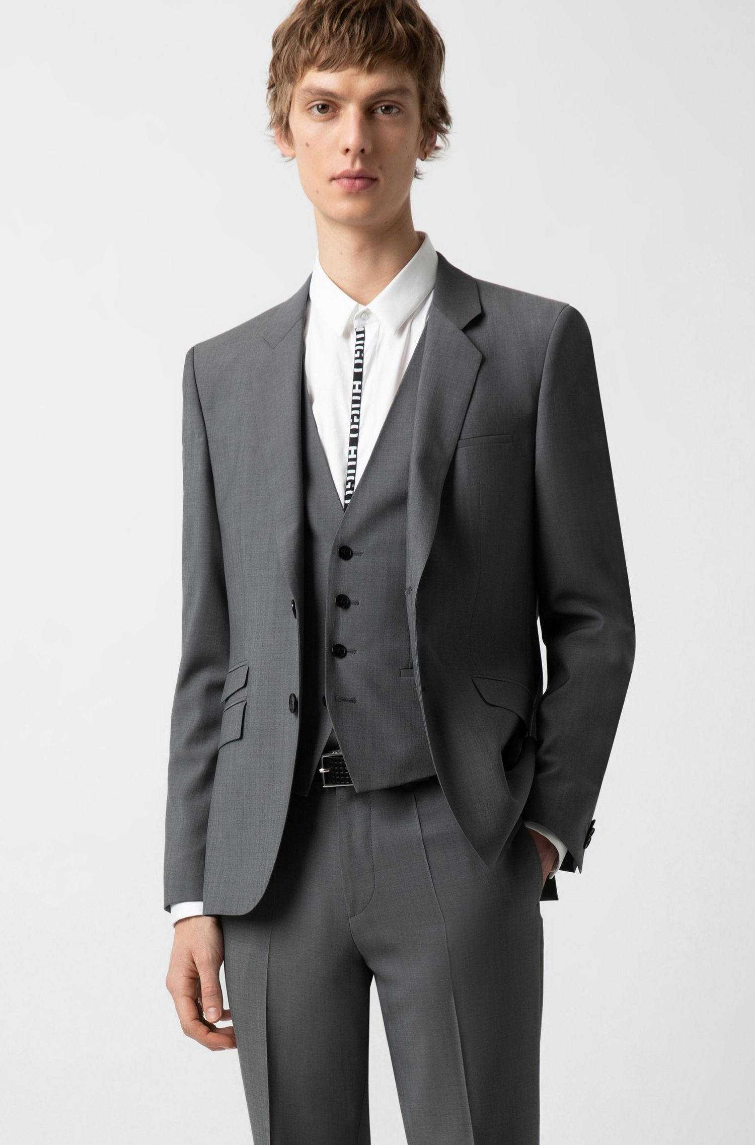 Extra-slim-fit three-piece suit in textured wool, Grey