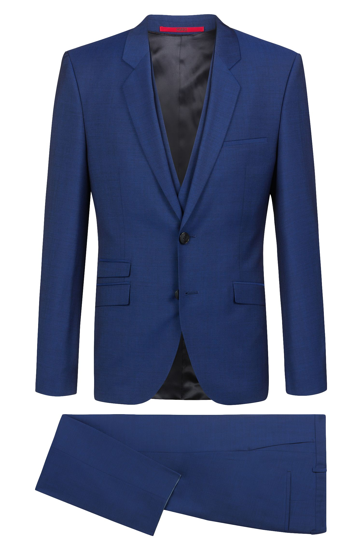 Extra-slim-fit three-piece suit in textured wool, Blue