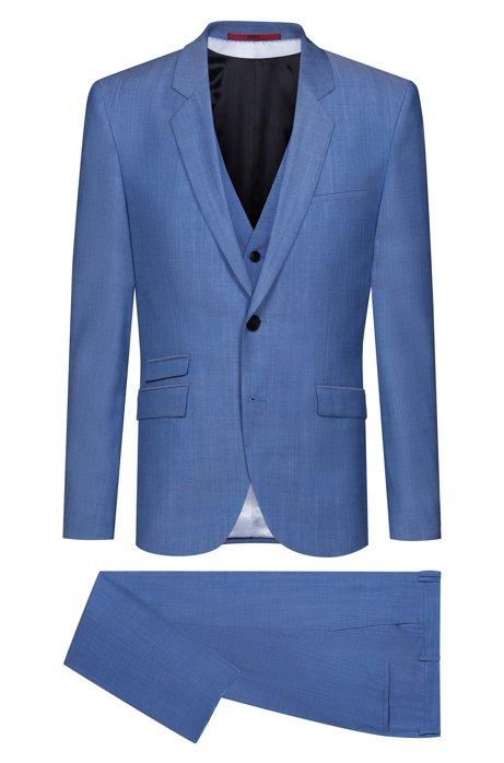 Costume trois pièces Extra Slim Fit en laine texturée, Bleu vif
