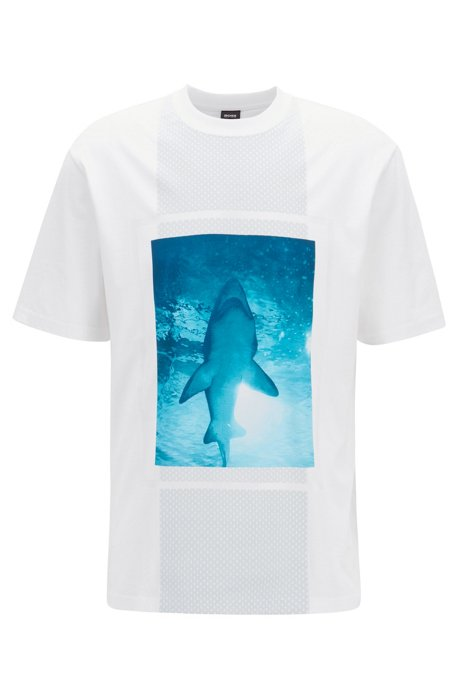 T-Shirt aus Baumwoll-Jersey mit 3D-Effekten, Weiß