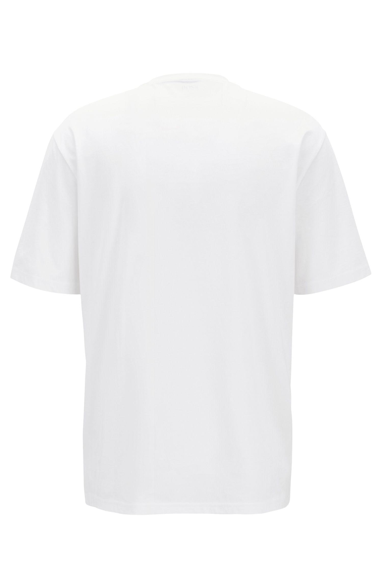 T-shirt Relaxed Fit en jersey de coton à effets3D, Blanc