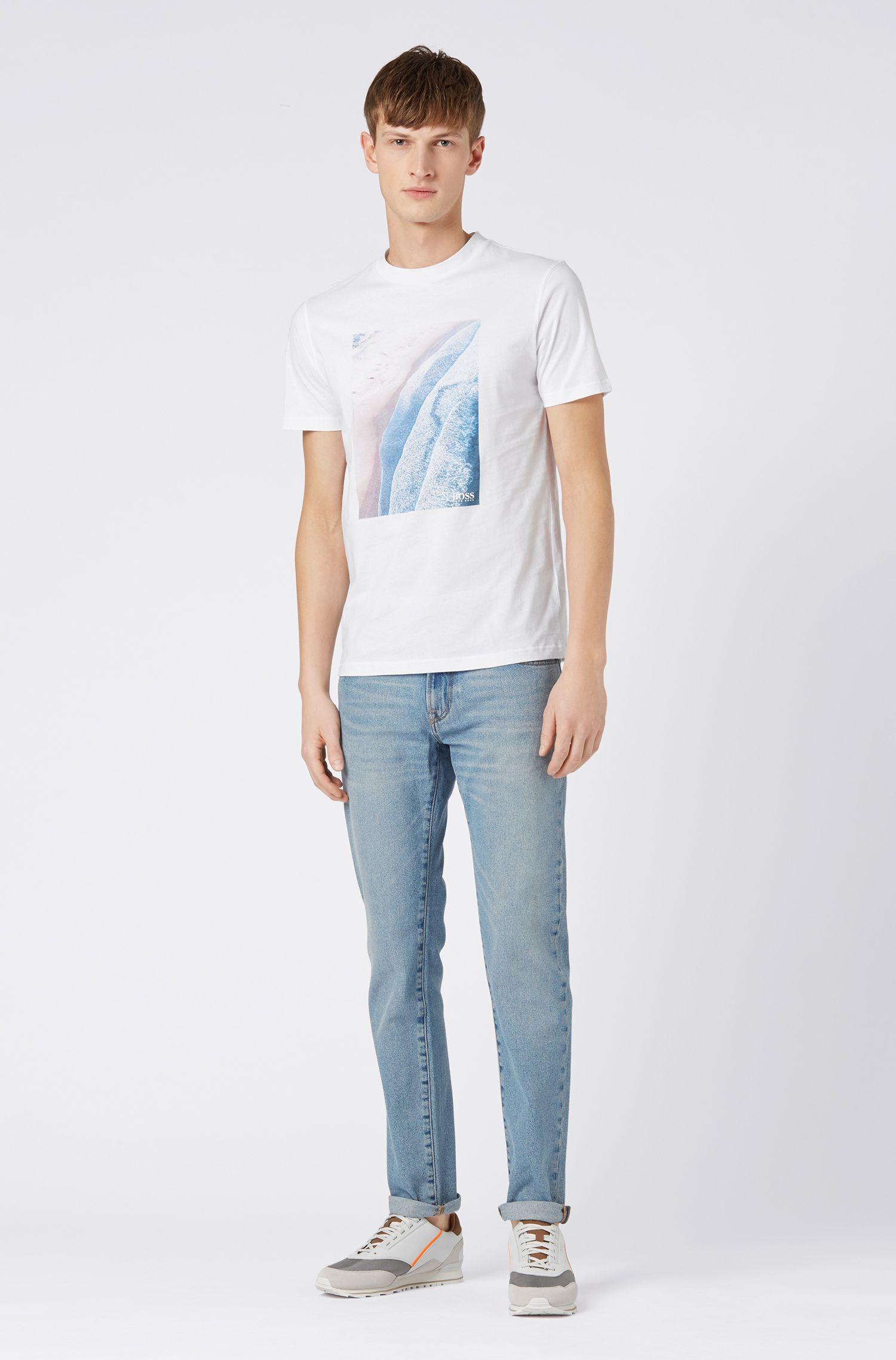 Relaxed-fit T-shirt met een grafische print met craquelé-effect, Wit