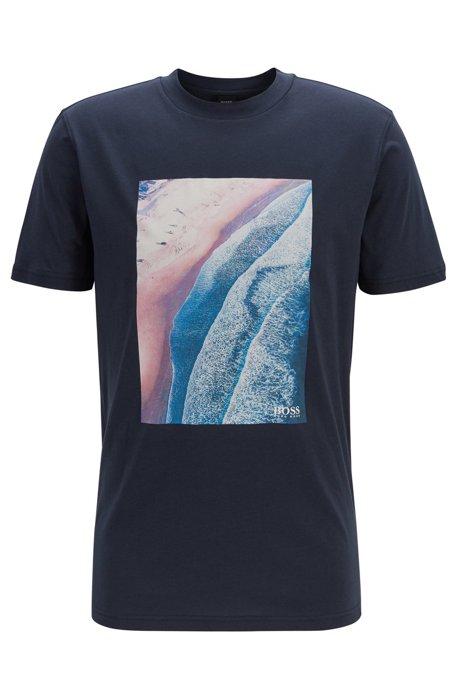 Relaxed-fit T-shirt met een grafische print met craquelé-effect, Donkerblauw