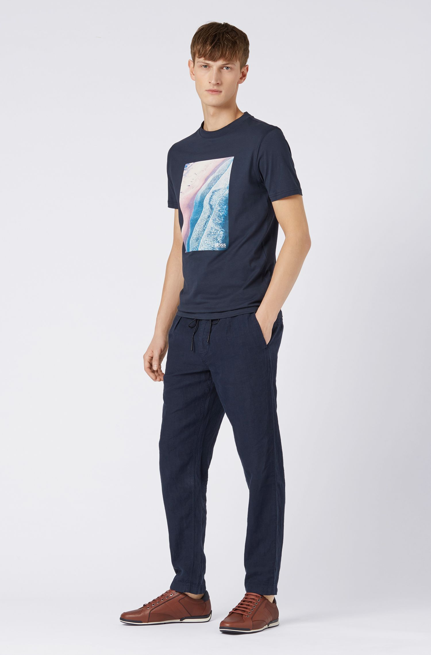 Relaxed-fit T-shirt with cracked-effect graphic print, Dark Blue