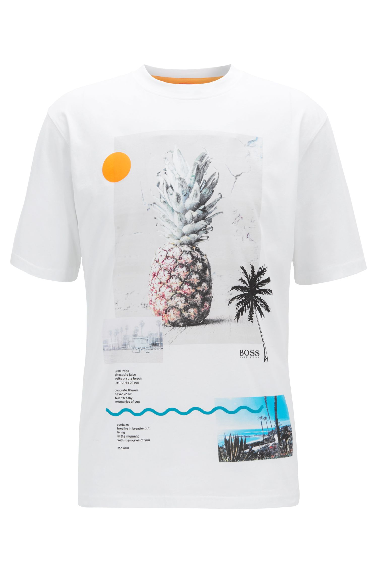 Relaxed-fit T-shirt met gemengde grafische print, Wit