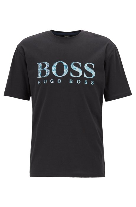 e2761f1bd BOSS - Relaxed-fit jersey T-shirt with screen-printed logo