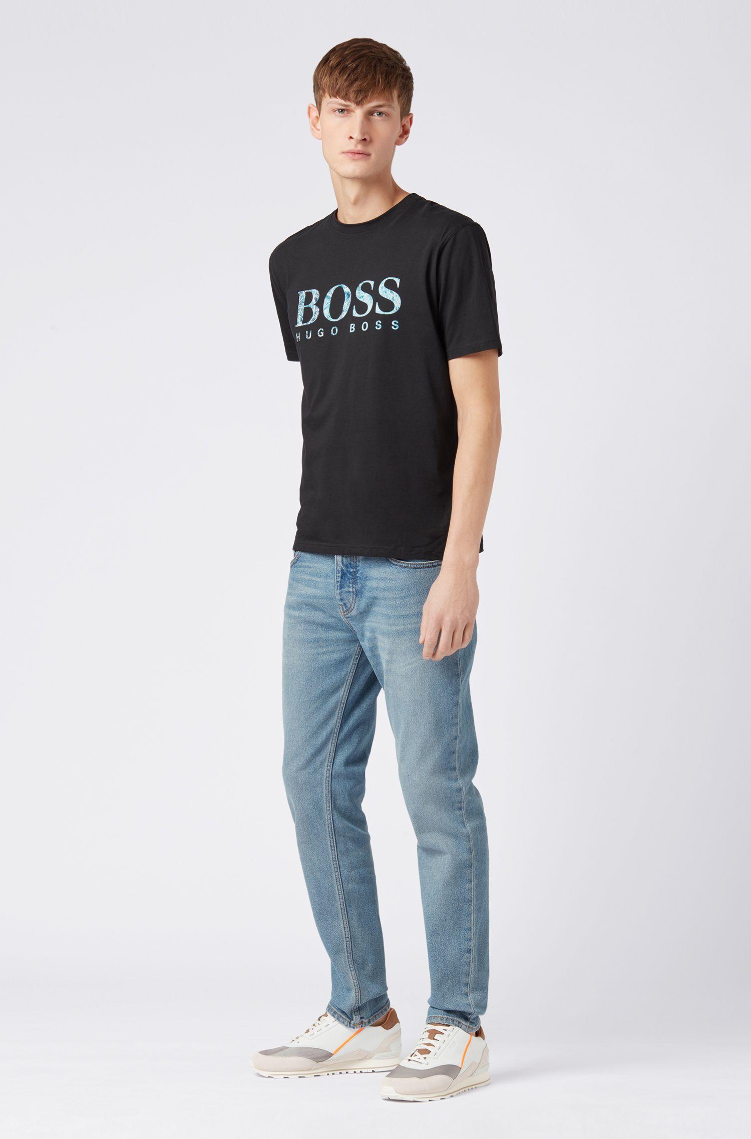 Relaxed-Fit T-Shirt aus Baumwoll-Jersey mit Siebdruck-Logo, Schwarz