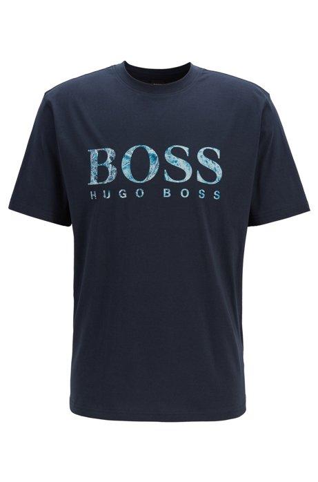 Camiseta de punto relaxed fit con logo serigrafiado, Azul oscuro