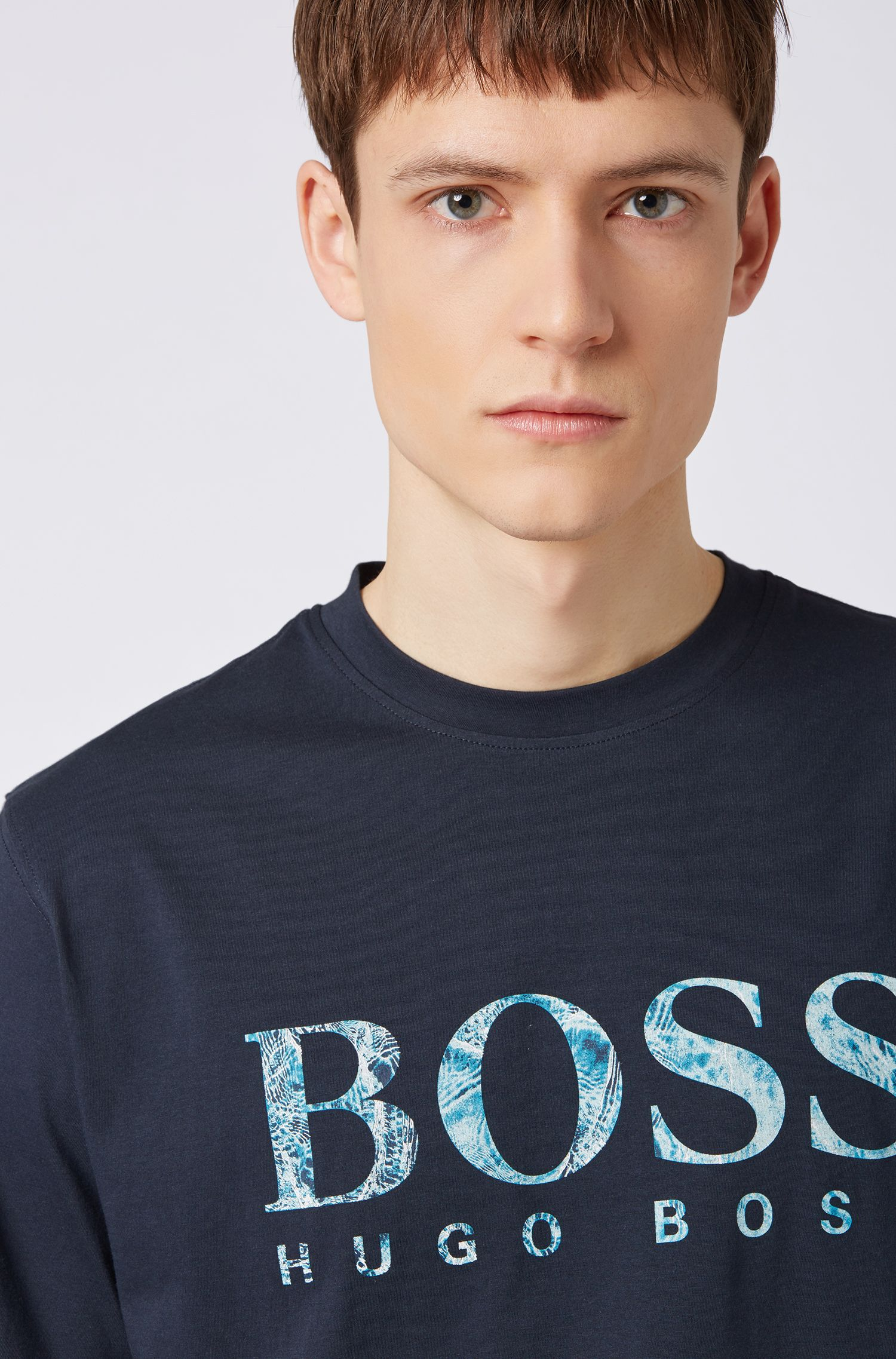 T-shirt relaxed fit in jersey con logo serigrafato, Blu scuro