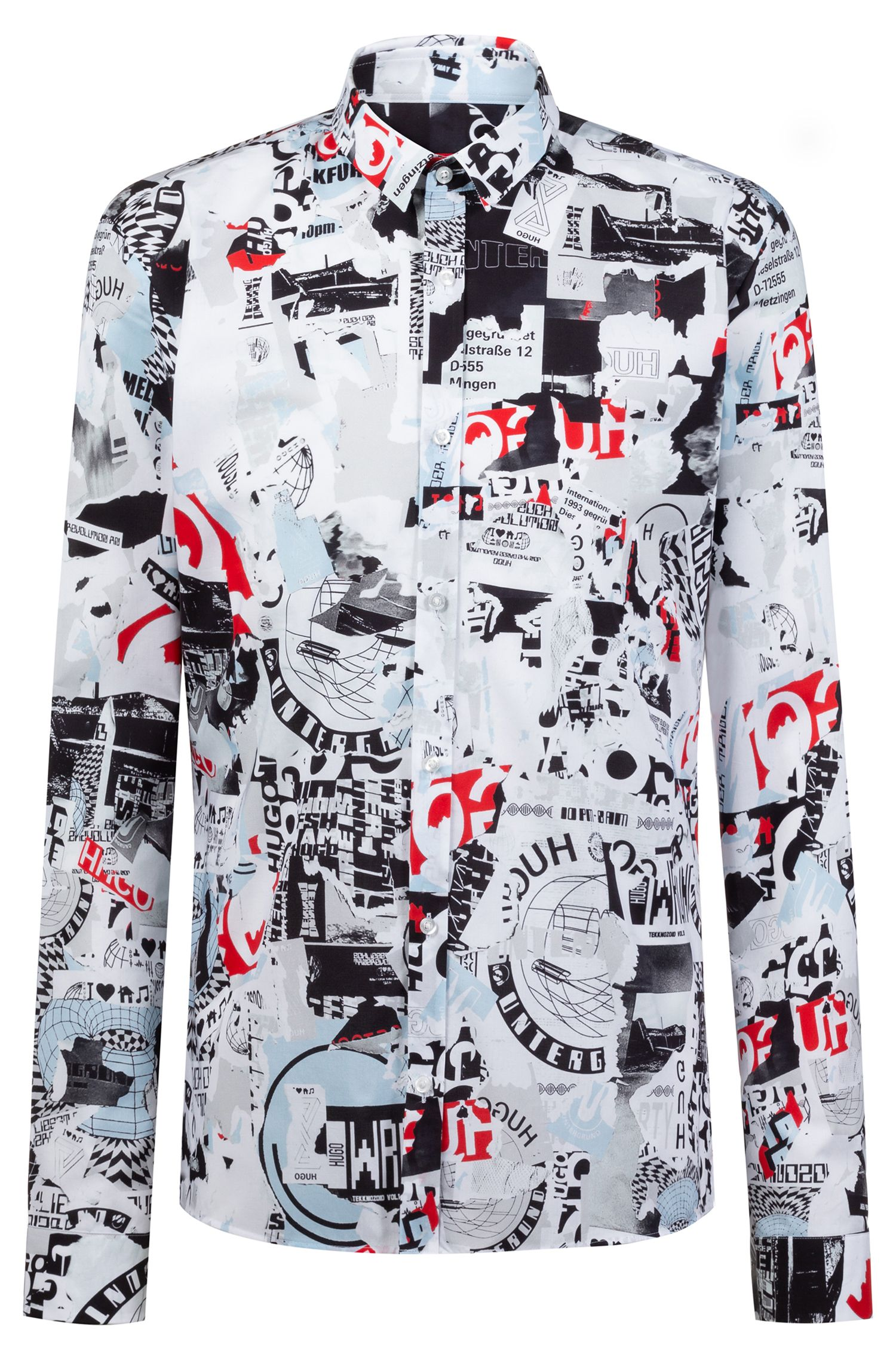 Extra-slim-fit shirt with Berlin Wall-inspired print, Patterned