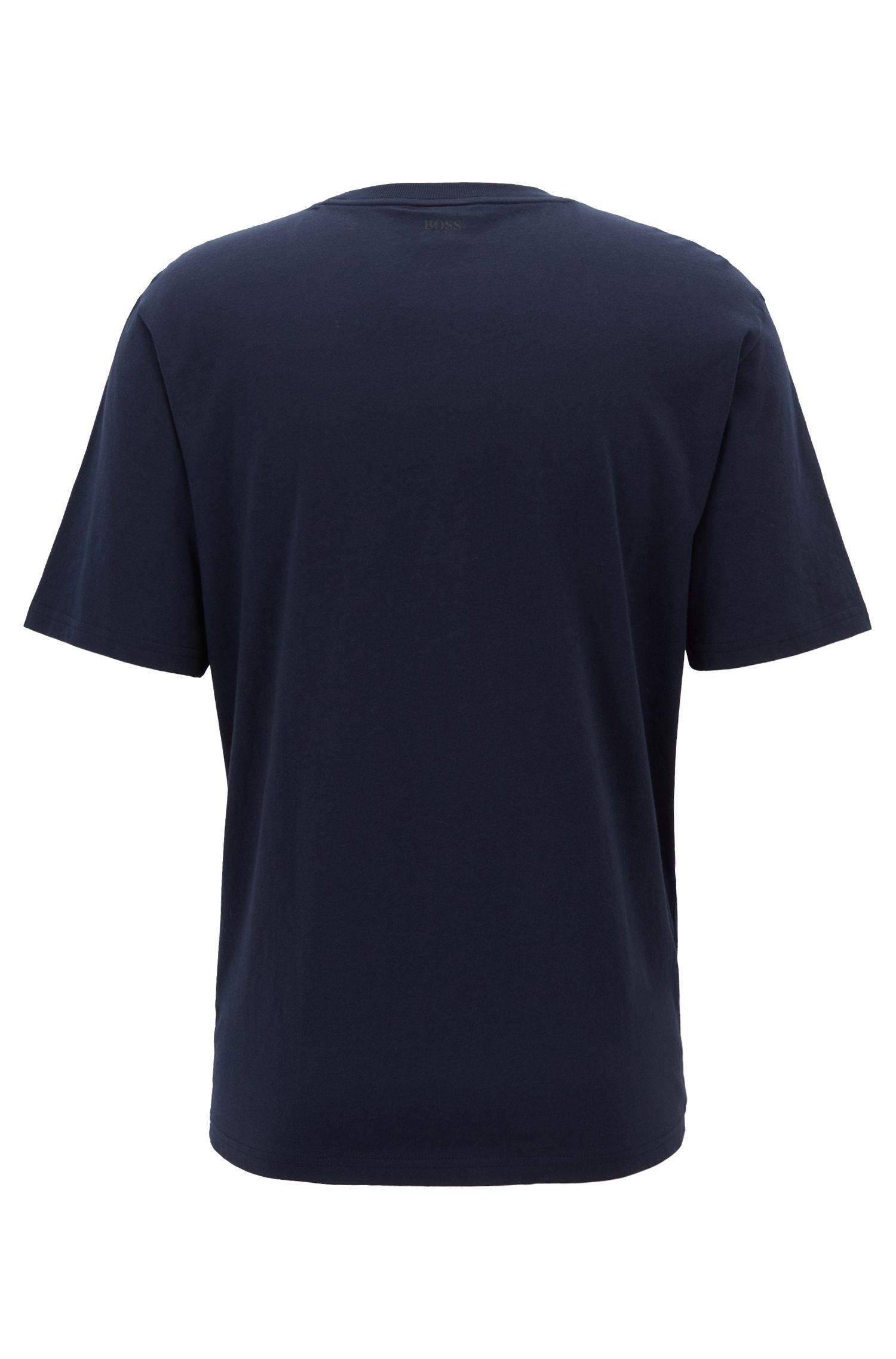 Relaxed-Fit T-Shirt aus reiner Baumwolle mit gummiertem Print, Dunkelblau