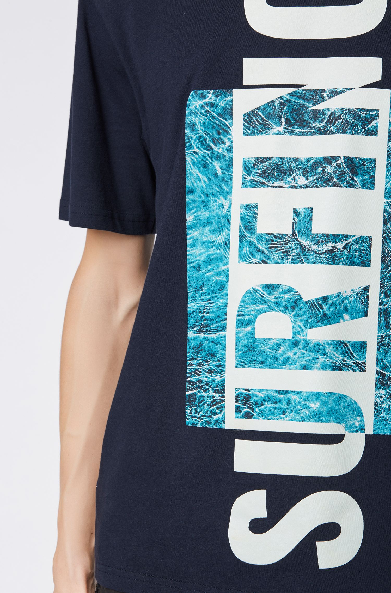 Relaxed-fit slogan-T-shirt met rubberprint, Donkerblauw