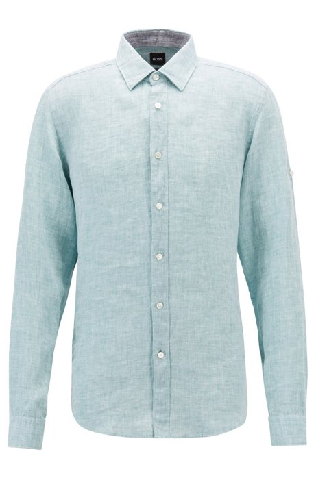 Blouse En Trui Ineen.Boss Regular Fit Overhemd In Een Chambray Van Linnen