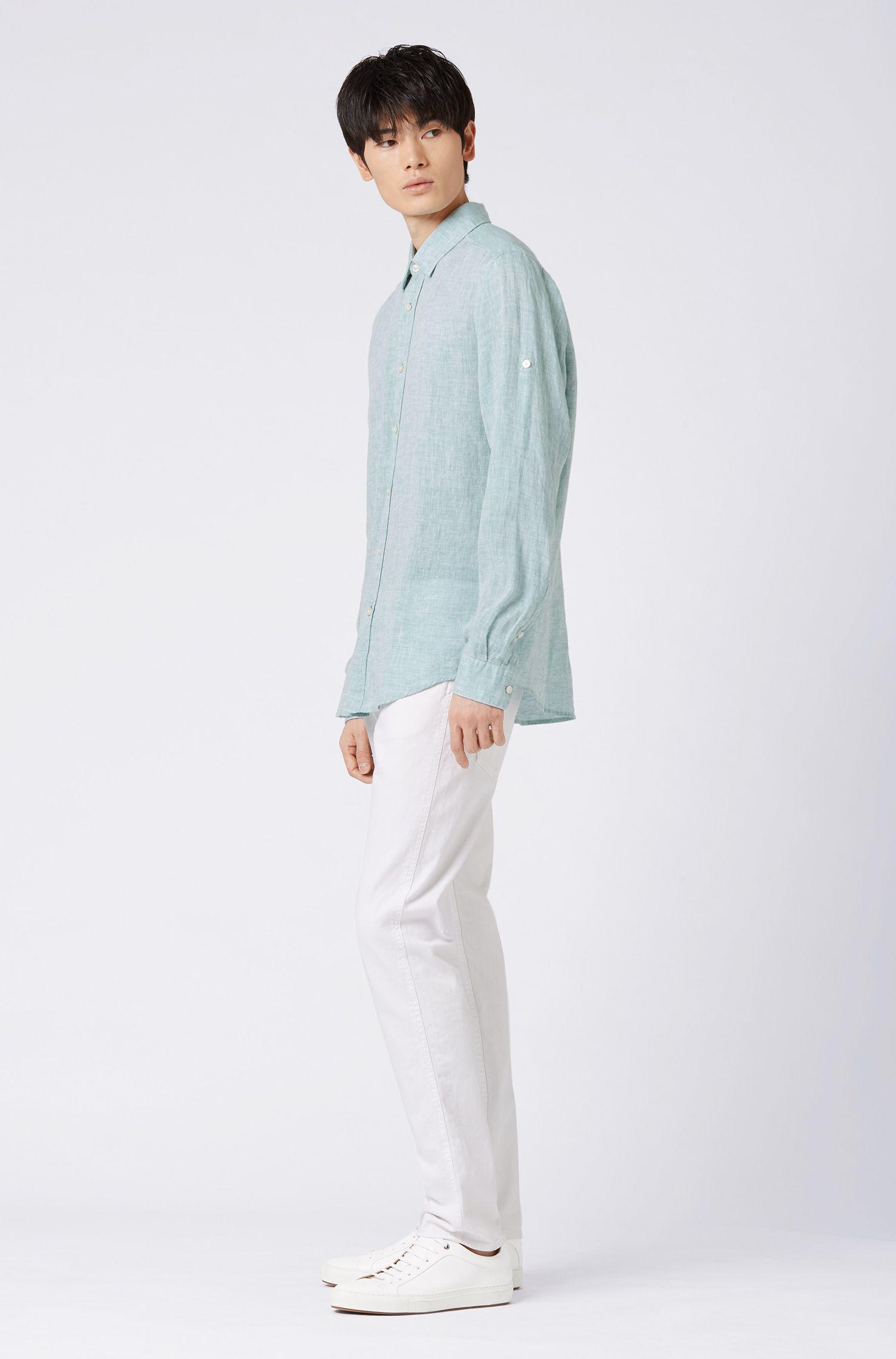 Regular-Fit Hemd aus Leinen-Chambray, Hellgrün