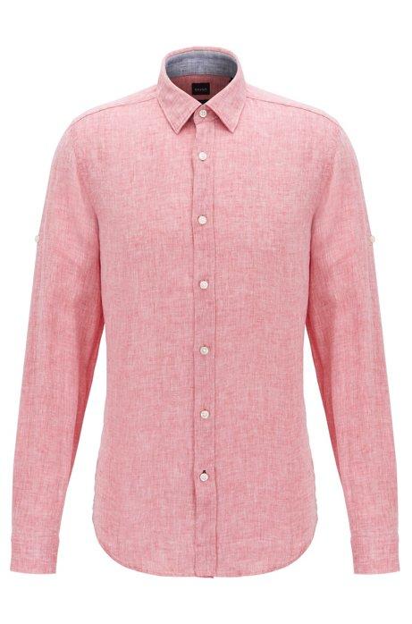 Regular-fit overhemd in een chambray van linnen, Rood