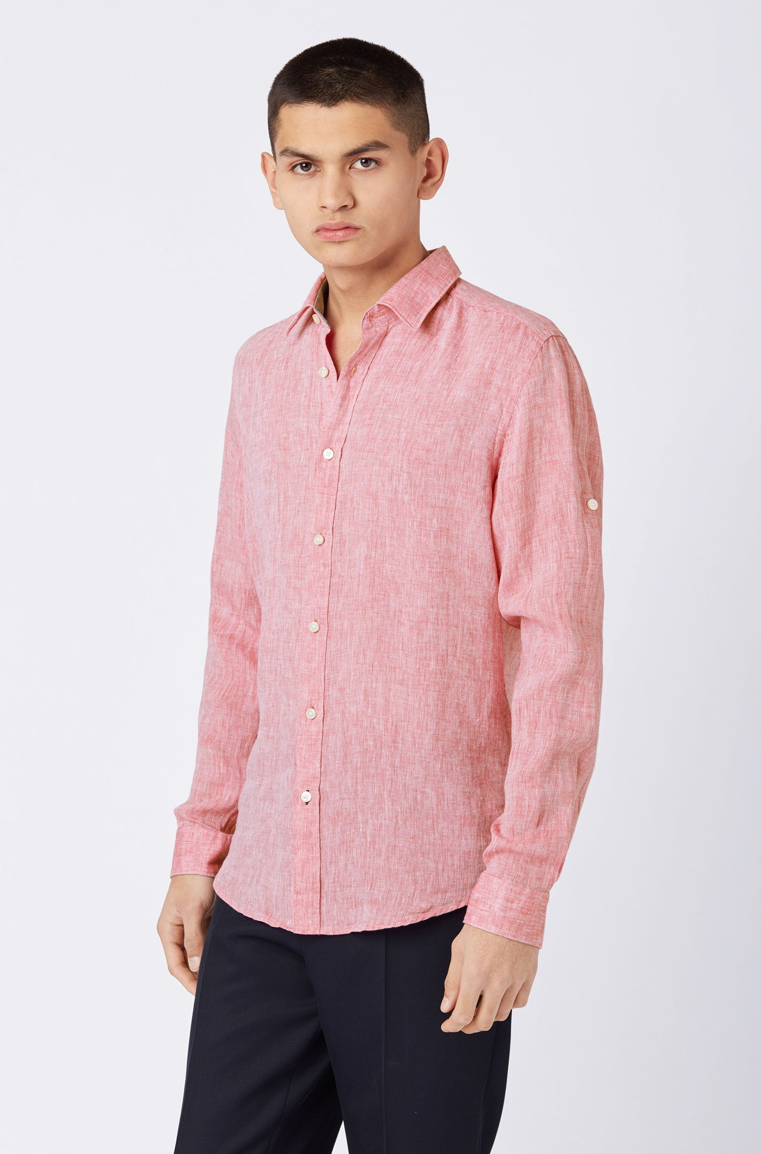 Regular-fit shirt in linen chambray, Red