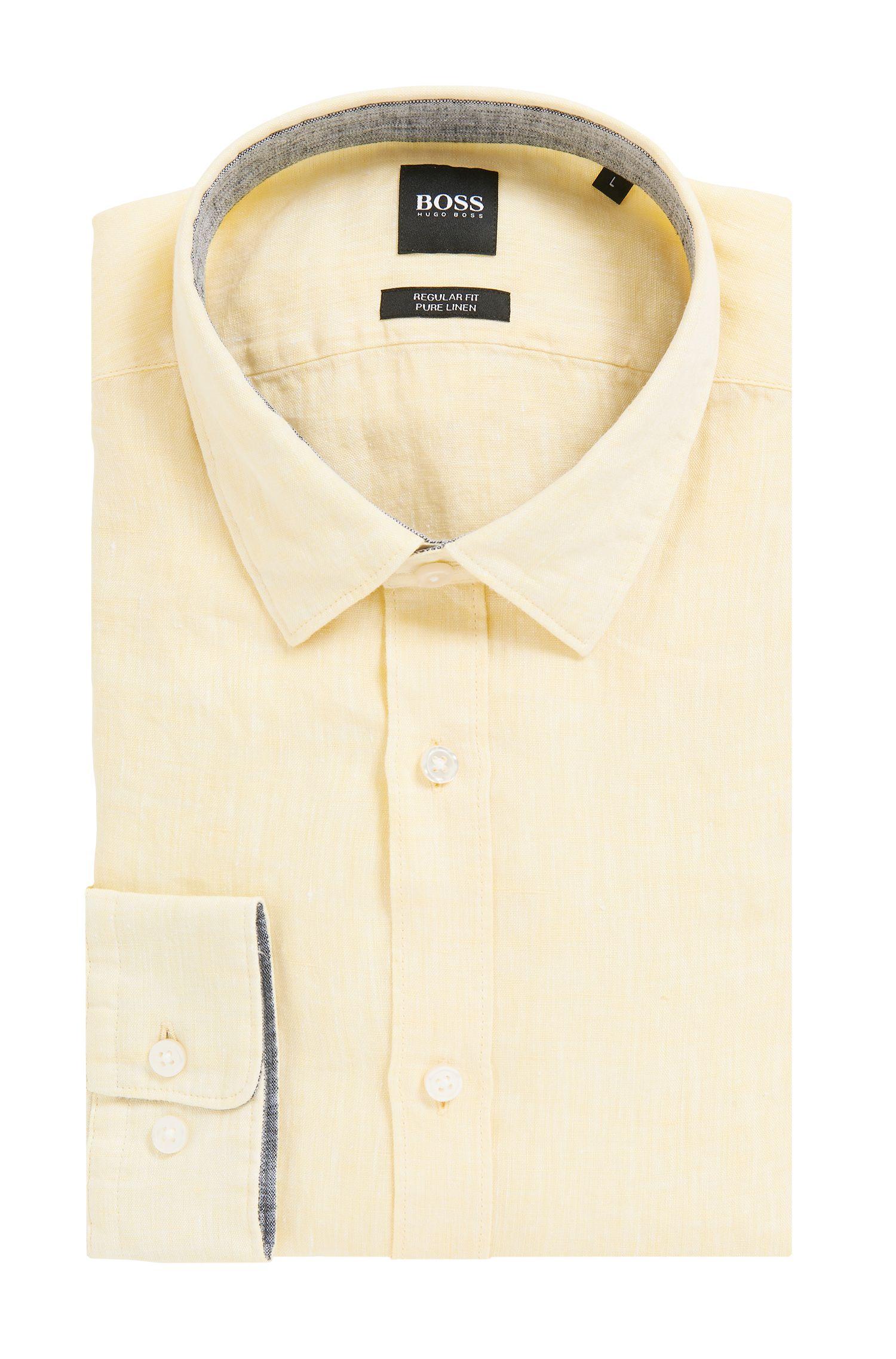 Regular-fit shirt in linen chambray, Yellow