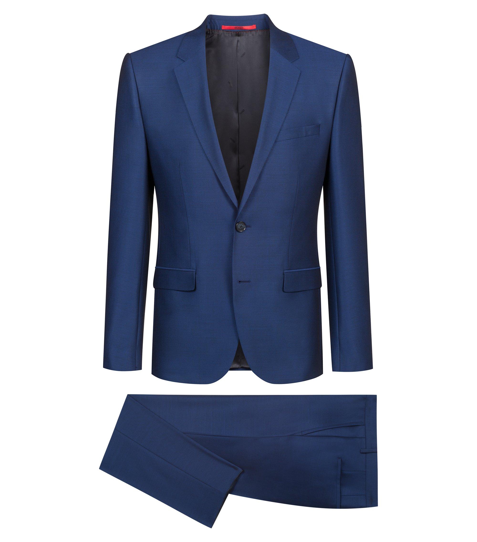 Extra slim-fit kostuum van scheerwol met microdessin, Donkerblauw