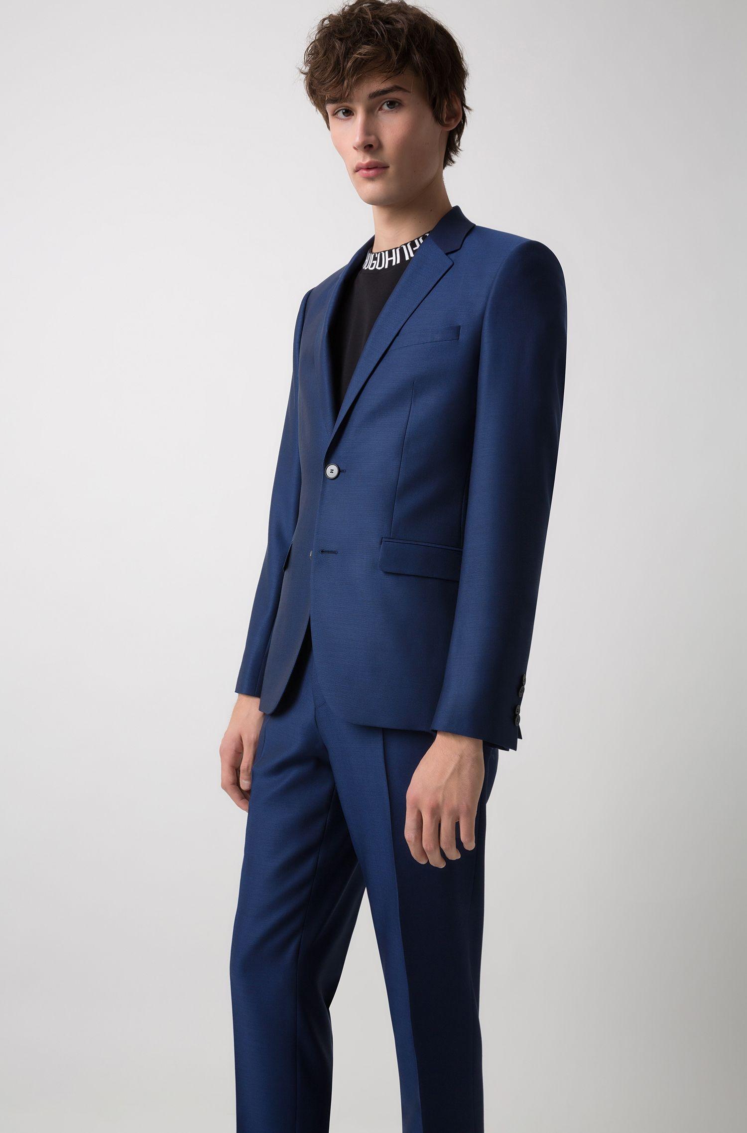 Costume Extra Slim Fit en laine vierge à micromotif, Bleu foncé