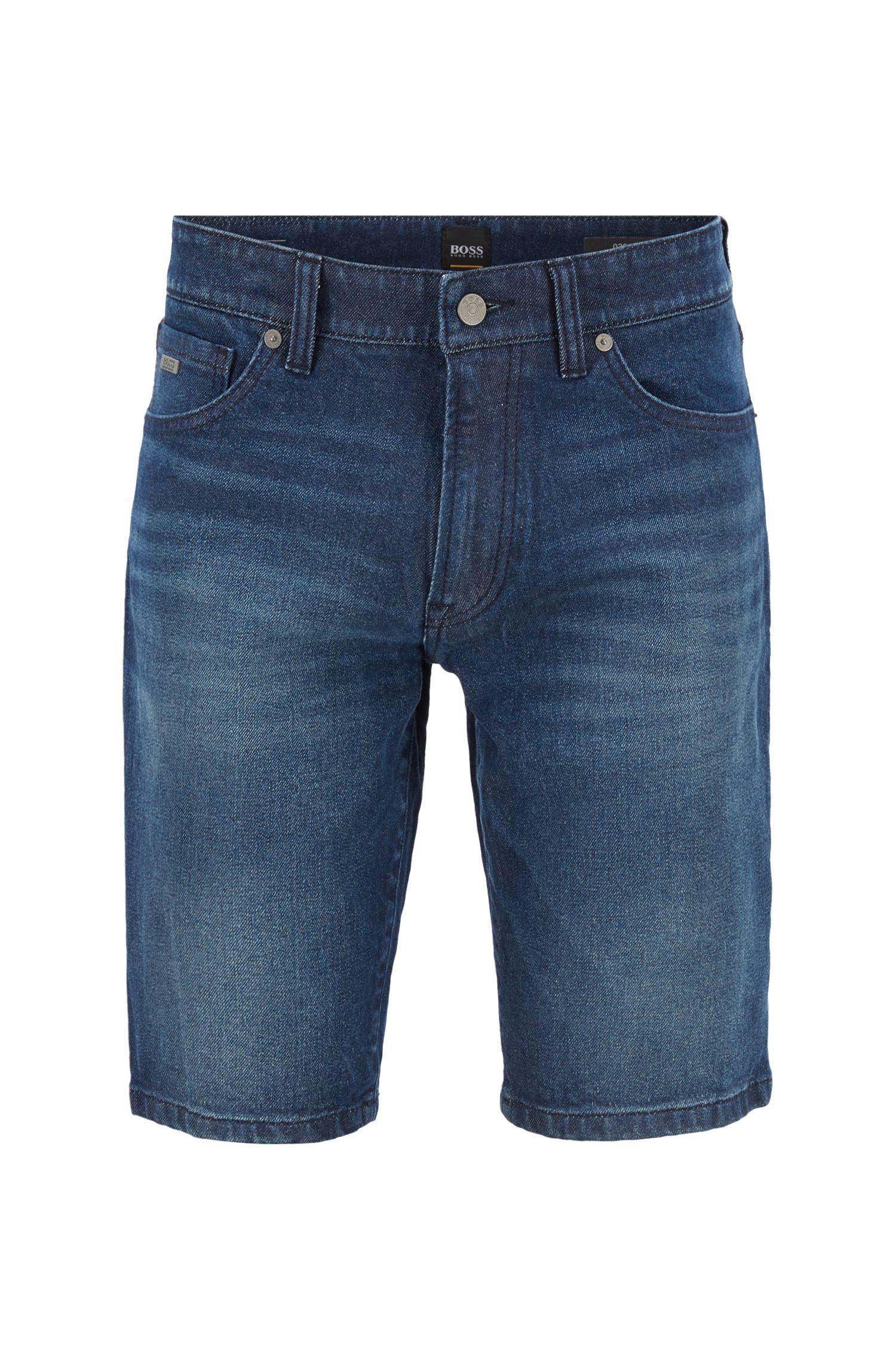 Regular-fit vintage-blue denim shorts with used effects, Dark Blue