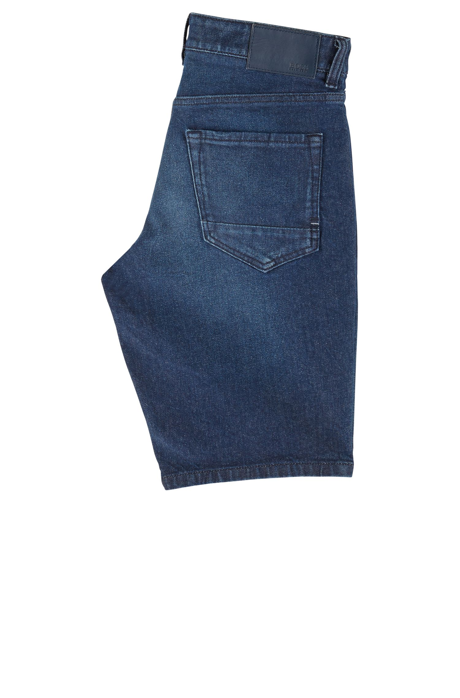 Pantaloncini regular fit in denim blu vintage con effetti usati, Blu scuro