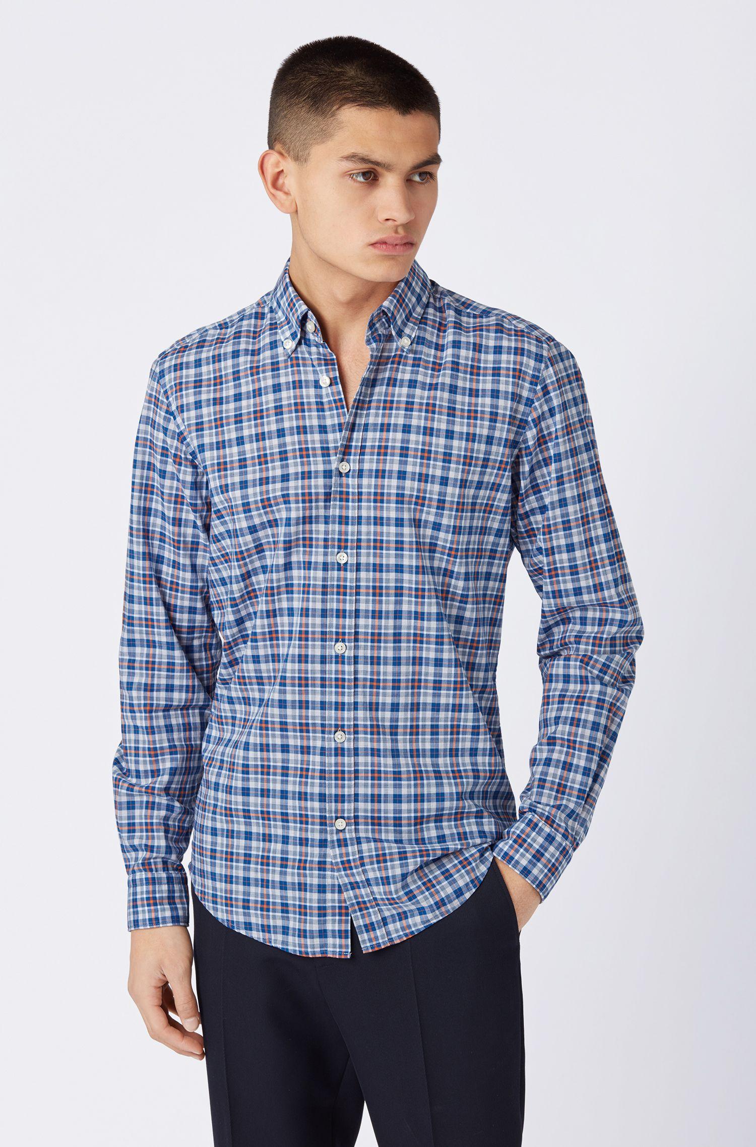 Chemise Regular Fit en voile de coton à carreaux avec col à pointes boutonnées, Bleu foncé