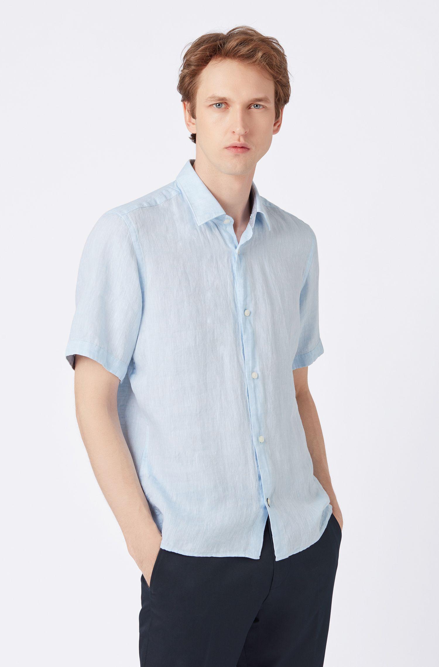 Camisa de manga corta regular fit en cambray de lino, Celeste