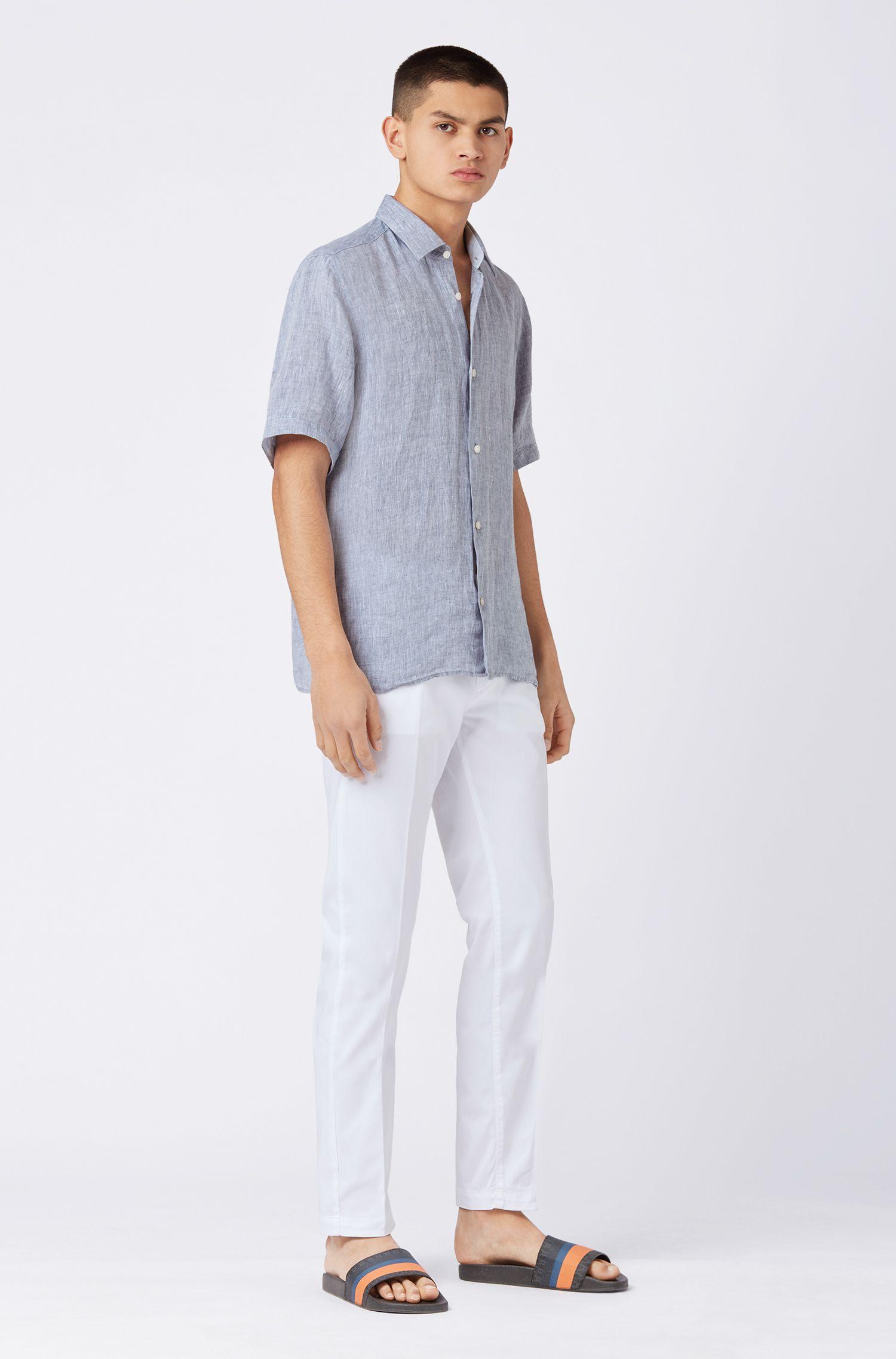 Regular-fit overhemd in een chambray van linnen met korte mouwen, Donkerblauw