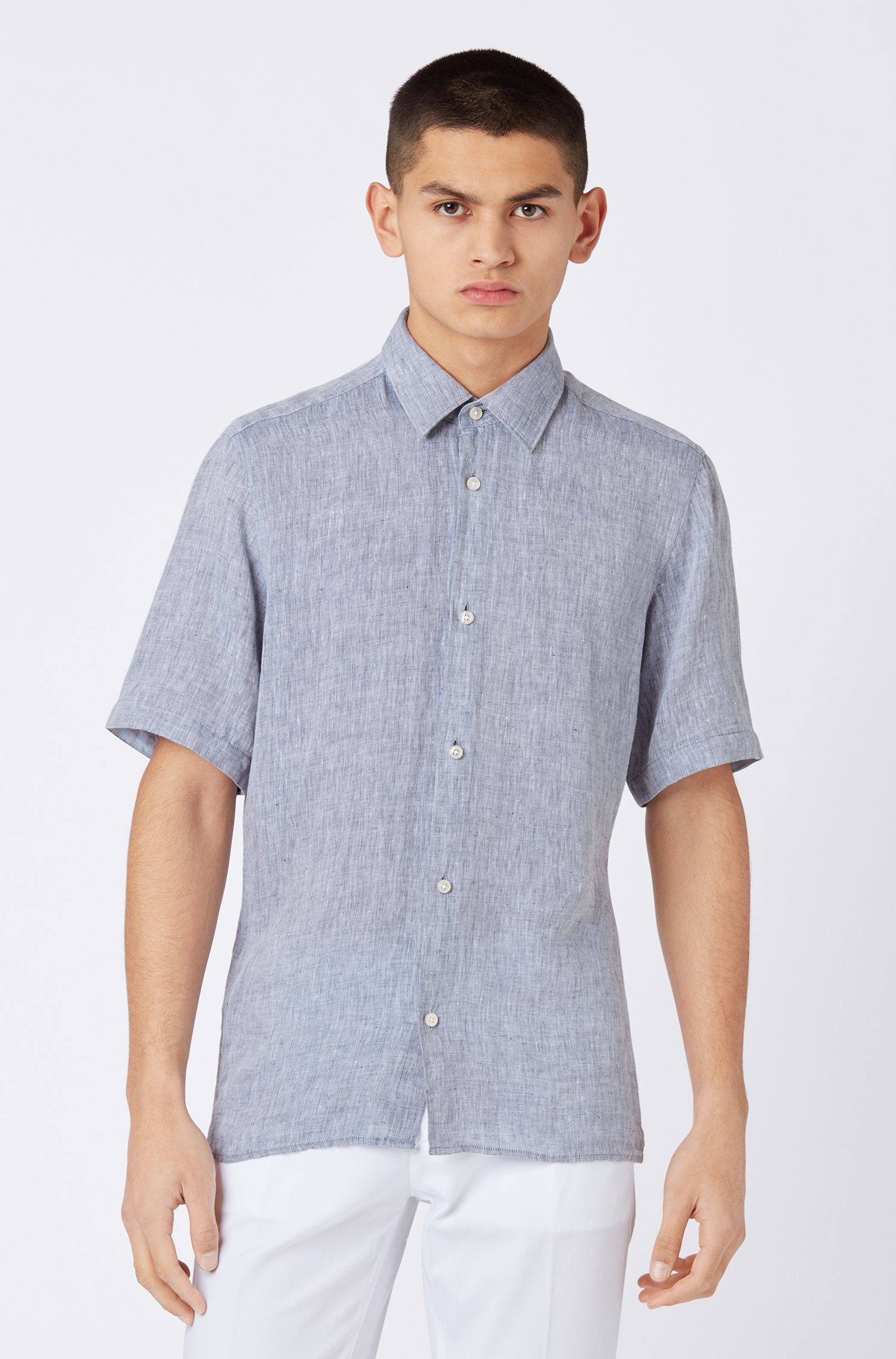 Camicia regular fit a maniche corte in lino chambray, Blue Scuro