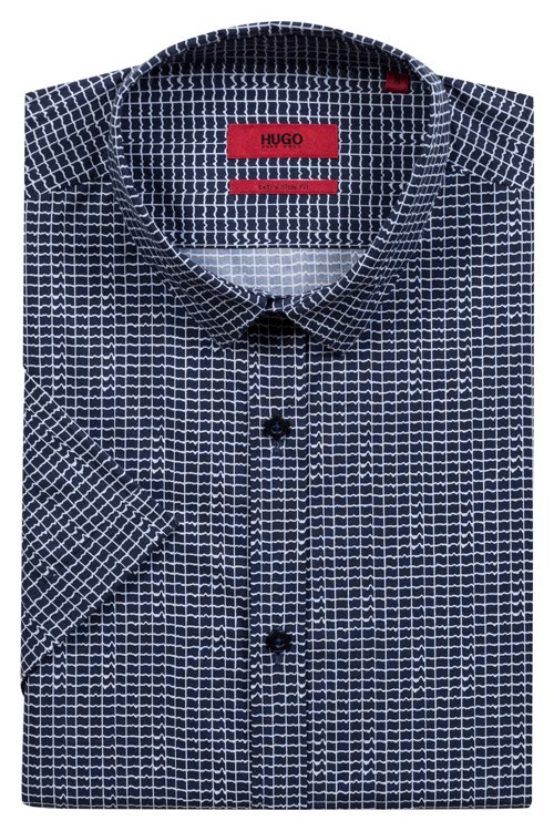 Hugo Boss - Extra Slim-Fit Hemd aus Baumwolle mit Allover-Print - 5