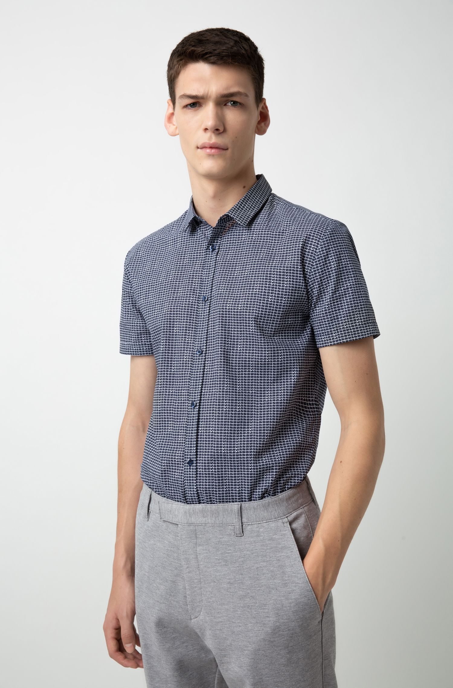 Extra-slim-fit cotton shirt with all-over print, Patterned