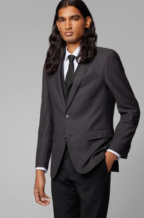 Slim-fit jacket in micro-pattern virgin wool, Black