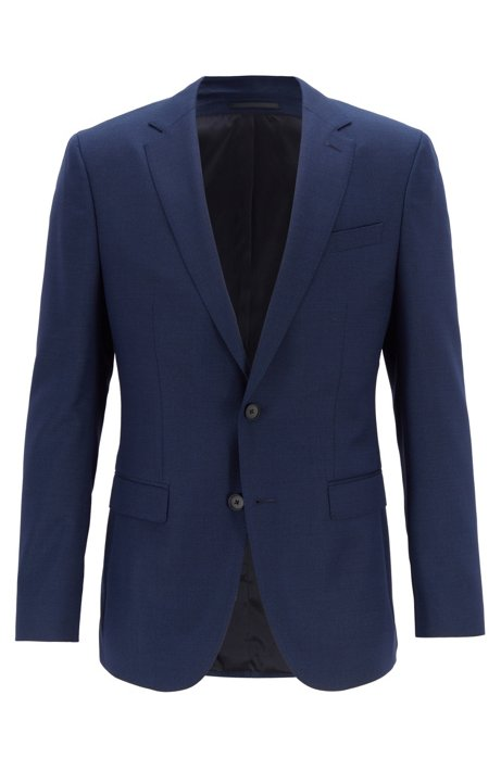 Slim-fit jacket in micro-pattern virgin wool, Open Blue