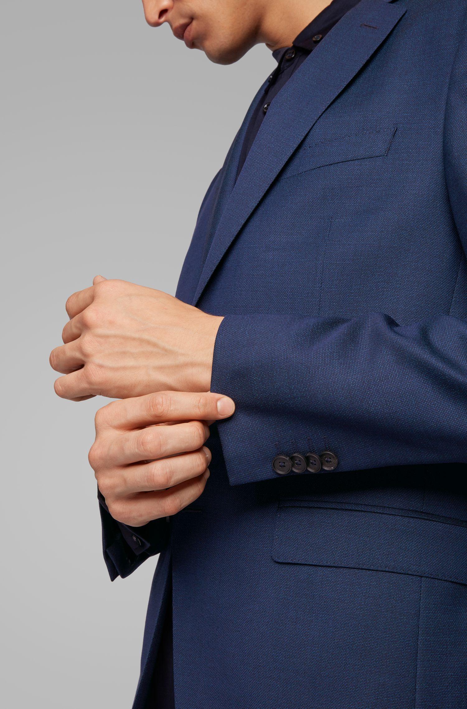 Americana slim fit en lana microestampada con elástico natural, Celeste