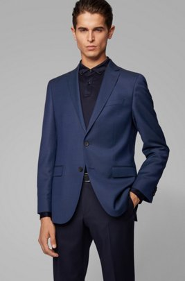 Slim-fit jacket in micro-pattern virgin wool, Light Blue
