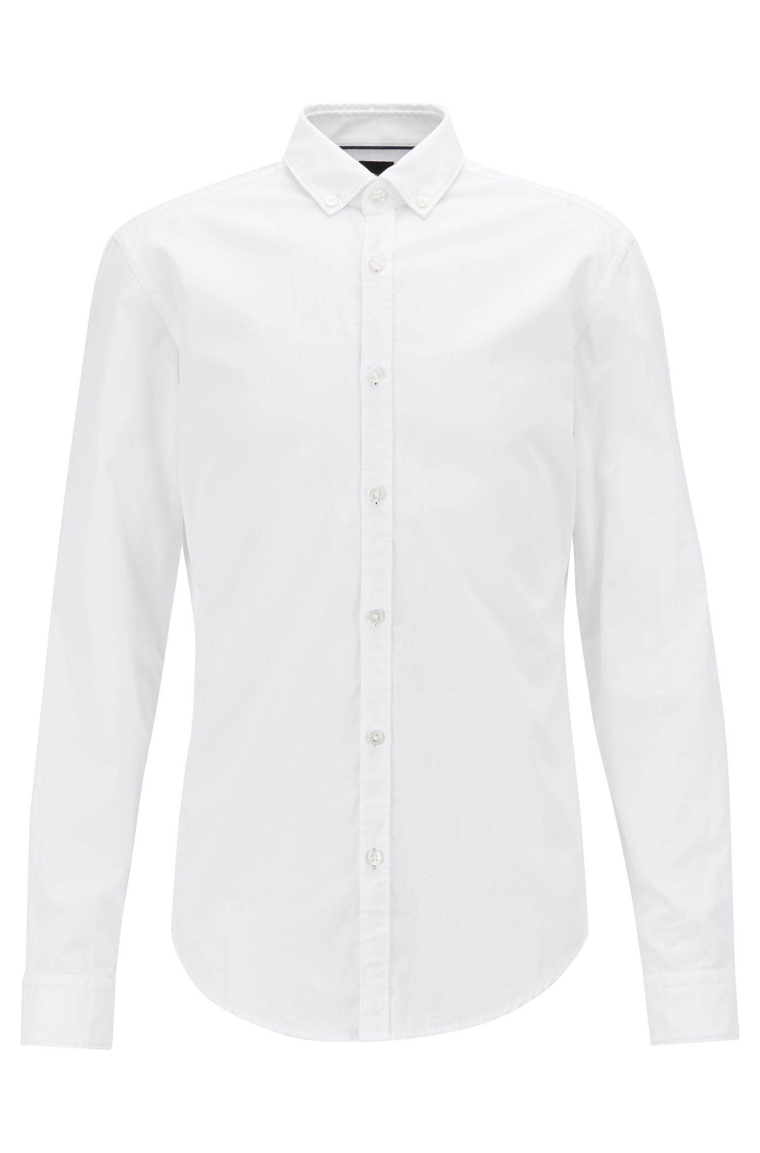 Camicia slim fit button-down con fettuccia a contrasto, Bianco