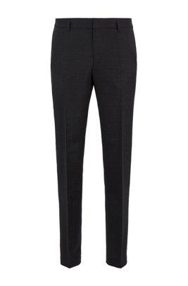 Micro-patterned slim-fit trousers in virgin wool, Black