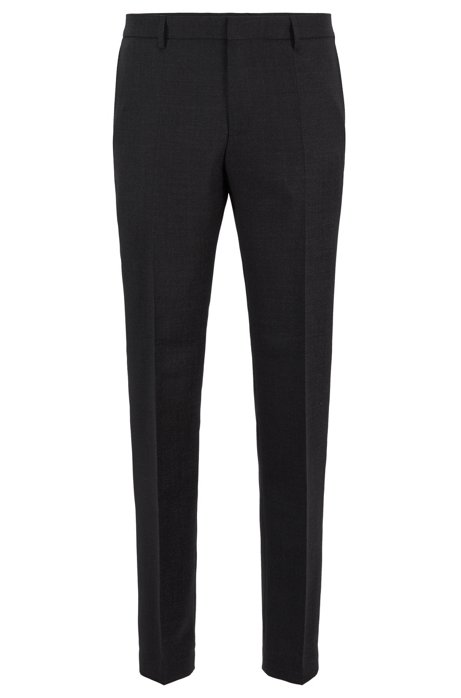 Micro-patterned slim-fit trousers in virgin wool, Black