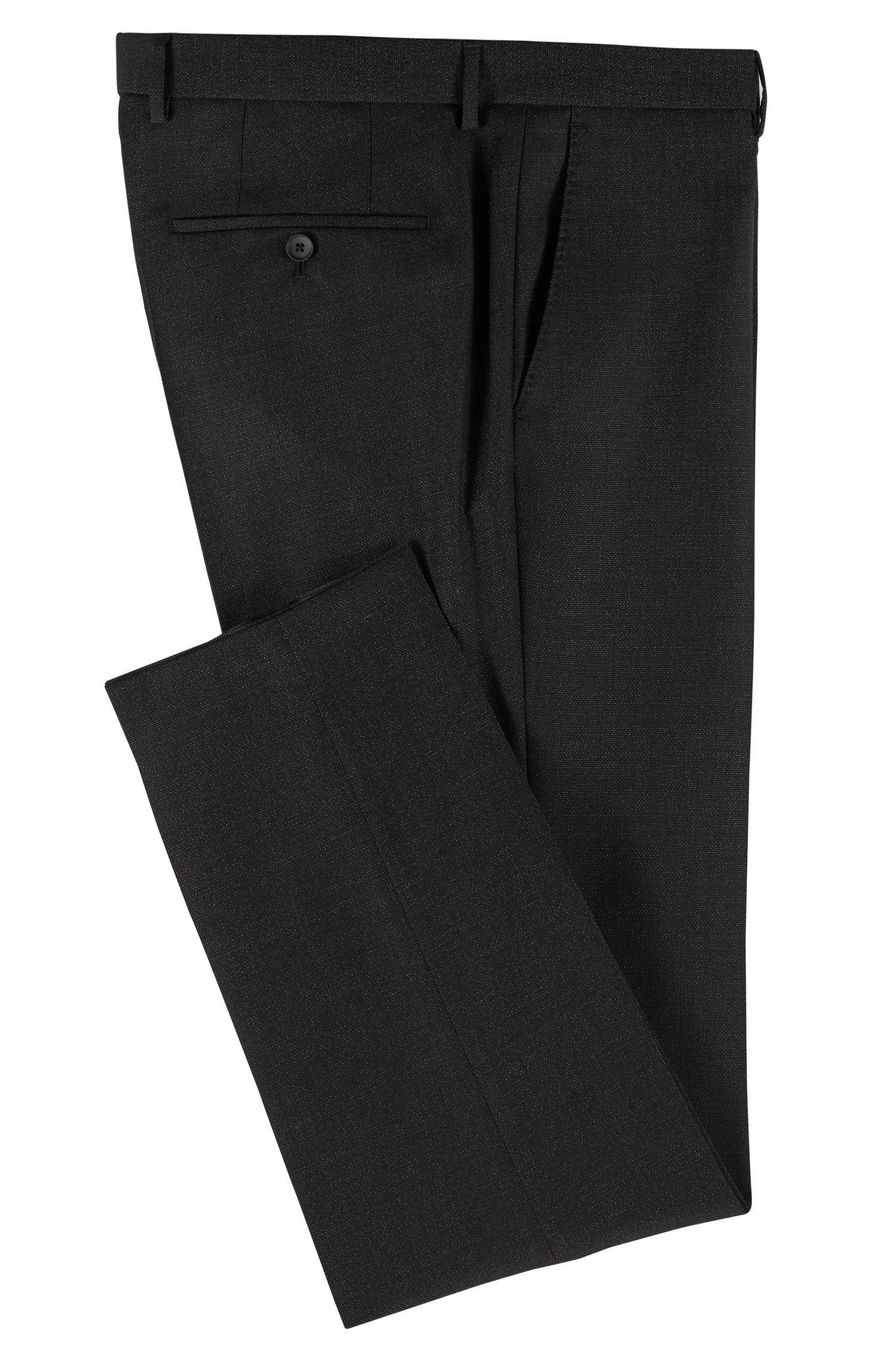 Fein gemusterte Slim-Fit Hose aus Schurwolle, Schwarz