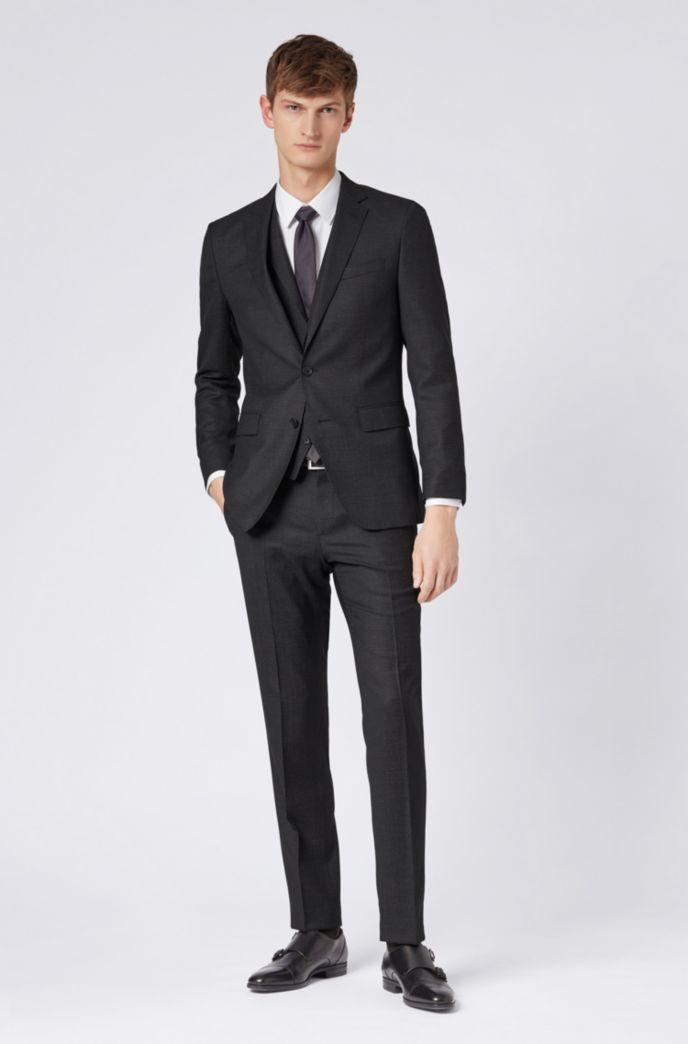 Micro-patterned slim-fit trousers in virgin wool