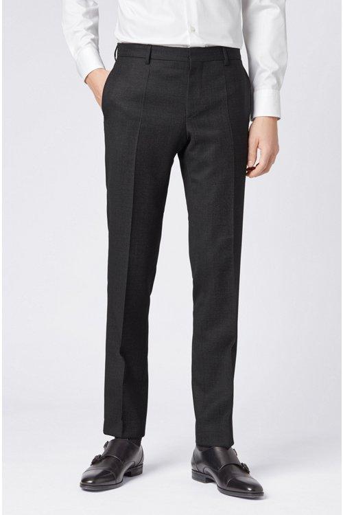 Hugo Boss - Micro-patterned slim-fit trousers in virgin wool - 4