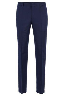 Fein gemusterte Slim-Fit Hose aus Schurwolle, Hellblau