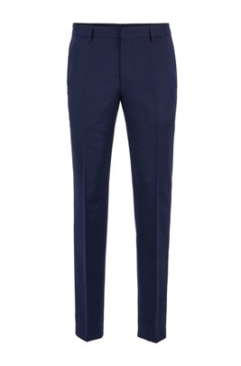 Micro-patterned slim-fit trousers in virgin wool, Light Blue