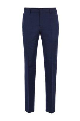 Pantalones slim fit en lana virgen con microestampado, Celeste